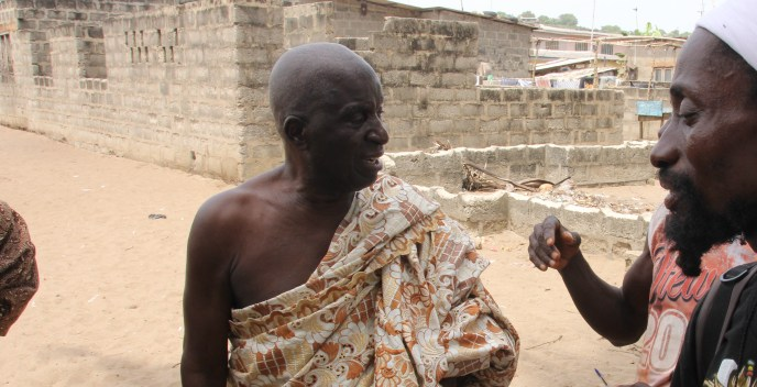 Salt Pond Chief Nana Baa near the site of the communal public washrooms in southern Ghana that aim to stop open defecation along the beach
