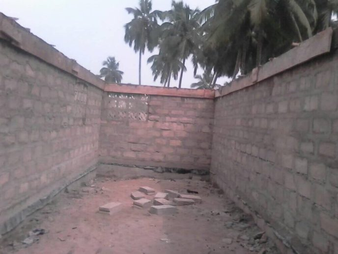 Interior of the Love Africa Project's 20-toilet public washroom build in Saltpond, Ghana