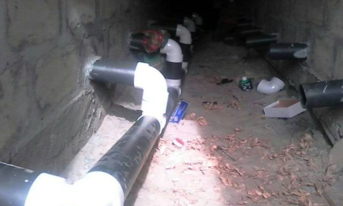 Initial installation of PVC plumbing pipes for public washroom