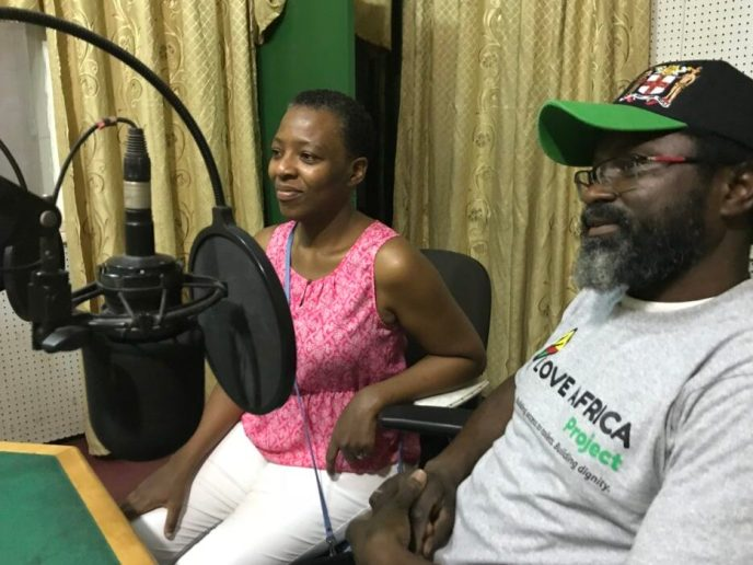 Love Africa Project crew being interviewed on Cape Coast radio station about their public washroom build