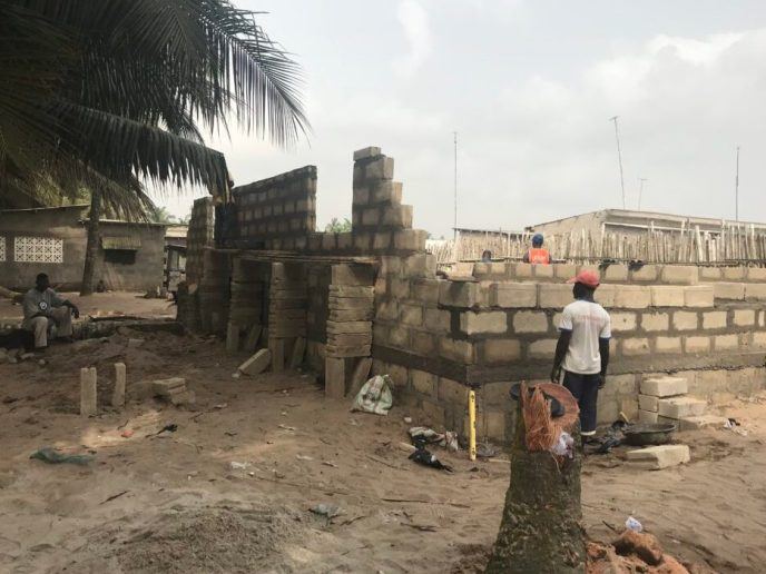 Foundation walls get higher on Love Africa Project washroom build to stop open defecation in Saltpond, Ghana