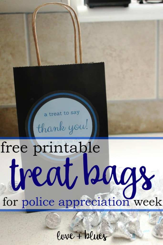 This is a super cute idea!  I'm going to have to make this for my husband's department.  I just have to think of what to put in the bag... she's right, there's not a lot of blue candies, lol!