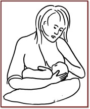 Breastfeeding positions - cross cradle hand support breast
