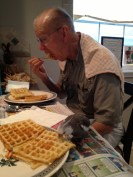 "Grandpa (aka the ""Tall Tree"") and his favorite grandbird enjoy a delicious waffle brunch together."