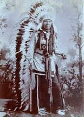 "Chief Crazy Horse (to whom our family is rumored to be distantly related) showcasing his ""fashion forward"" style sense."