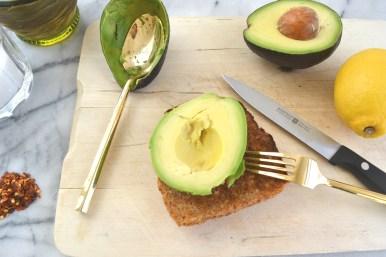 Put half the avocado on toast.