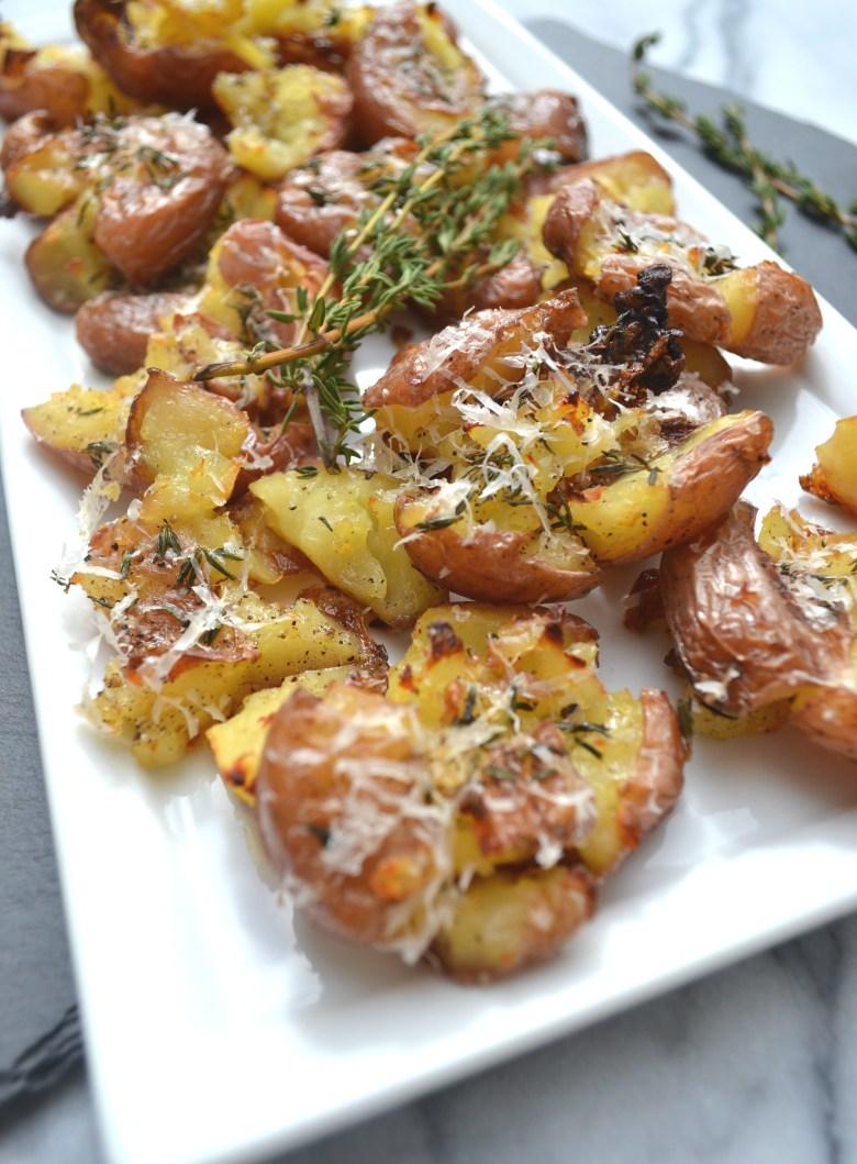 Parmesan Herb Smashed Potatoes