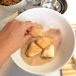 Cover each piece in cinnamon sugar.