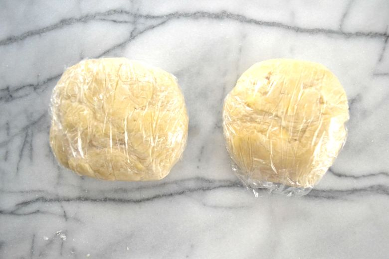 Wrap each portion of dough and form into a 4-inch disk. Refrigerate at least 45 minutes.