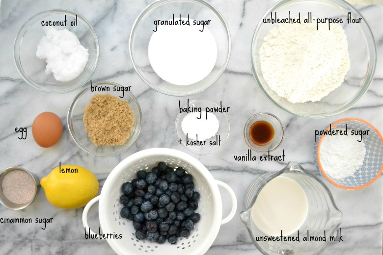 Dairy Free Blueberry Muffin Ingredients