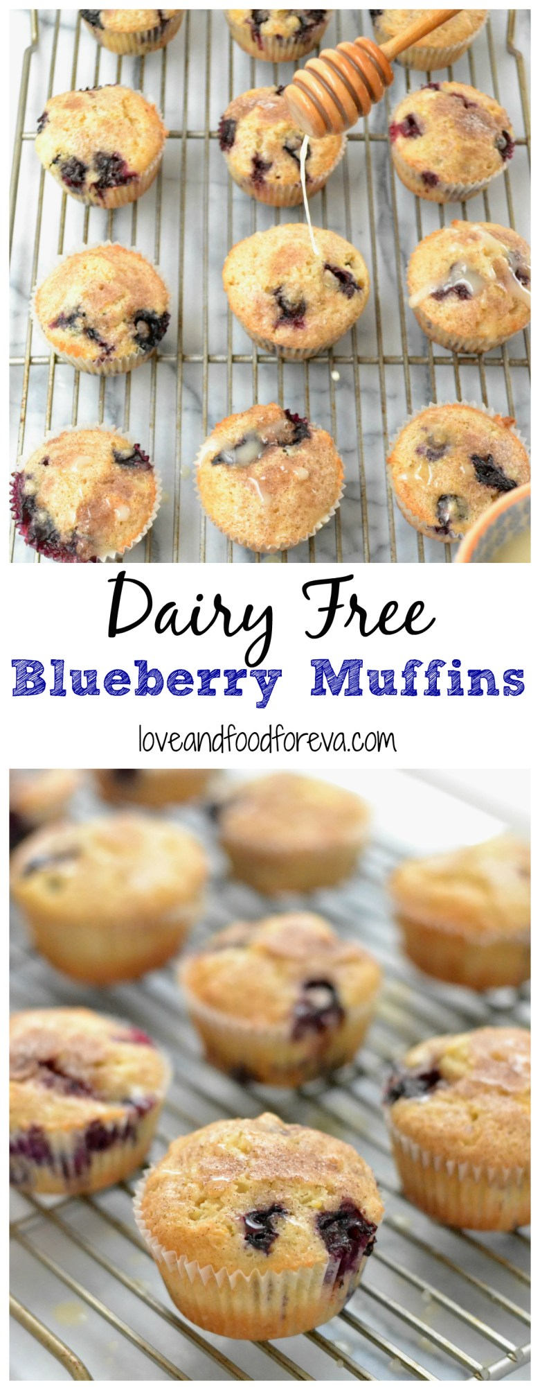 Dairy Free Blueberry Muffins with Lemon Glaze - perfect for a light brunch!