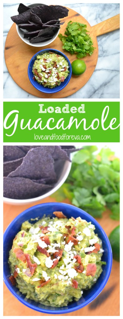 Loaded Guacamole: a classic summer time appetizer is given a twist with crunchy bacon and delicious queso fresco!