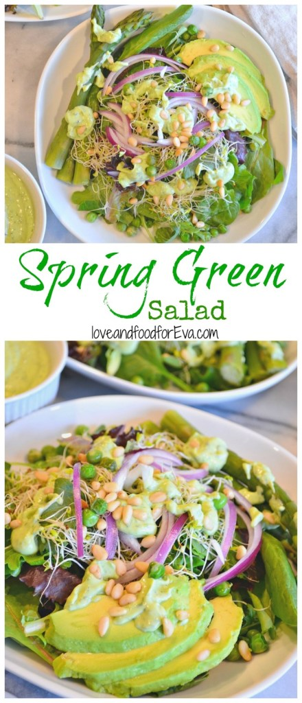 Celebrate warmer temperatures with this Spring Green Salad and green goddess dressing! Easy, refreshing, and oh so delicious!