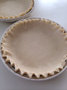 Roll your crust into a pie plate and crimp the edges.