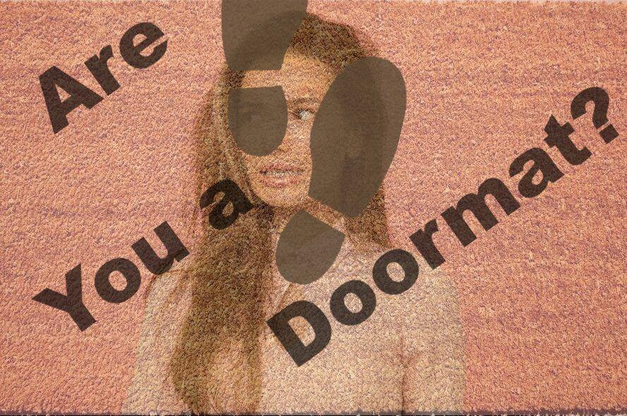 The desperation doormat with footprints.