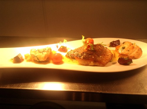 Stone bass and monkfish cheeks, butternut squash, cheery tomatoes, basil butter and roast beet root.