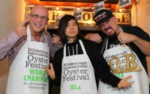 Reigning Champion, Colin Shirlow (left) prepares to take on major international hitters for the World Oyster Eating Championship. Including Matt 'Megatoad' Stonie and Notorious B.O.B. from America, who are ranked 4th and 5th in the world for competitive eating. The Championships kicks off at 3pm at Hillsborough as part of the 21st Hillsborough International Oyster Festival