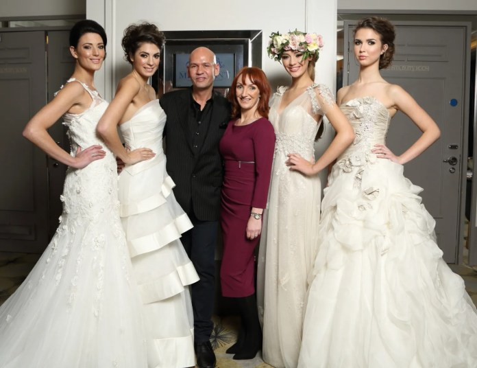 Models Kellyanne, Gemma, Ashleigh and Adriana pictured with bridal designer Ian Stuart and Blush Boutique owner Aileen Wilson at the Ian Stuart bridal showcase in The Merchant Hotel on Saturday 23rd November