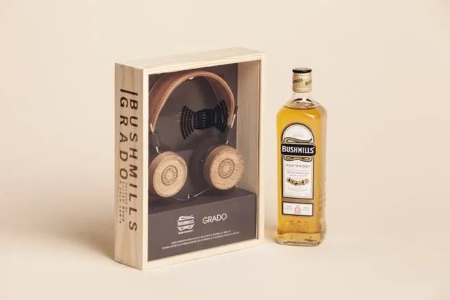Bushmills x Grado Labs Headphones designed by DJs Elijah Wood and Zach Cowie and made from whiskey barrel wood