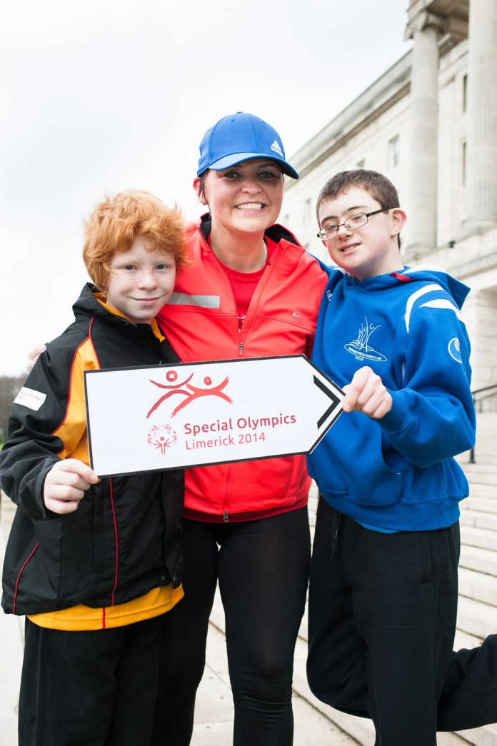 Athletes Jonathan McCartney and Matthew McGauran with Denise Watson UTV Sports aunching Special Olympics Ulster at Parliament Buildings Stormont. Picture Elaine Hill