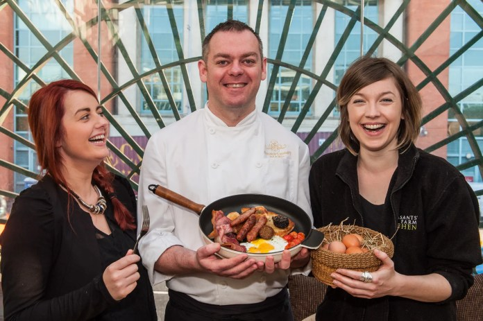 Chef with waitress Laura and Julia Bailey, owner of Pheasant Hill