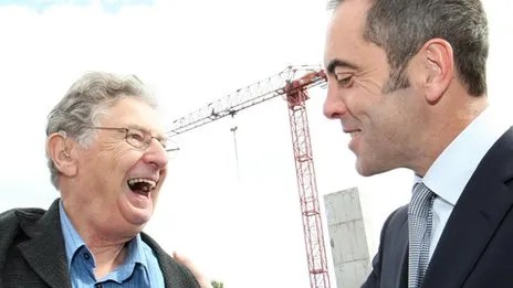 Jimmy Ellis with fellow Northern Ireland actor James Nesbitt at the unveiling of a key stone on the site of the Lyric Theatre in Belfast in 2009