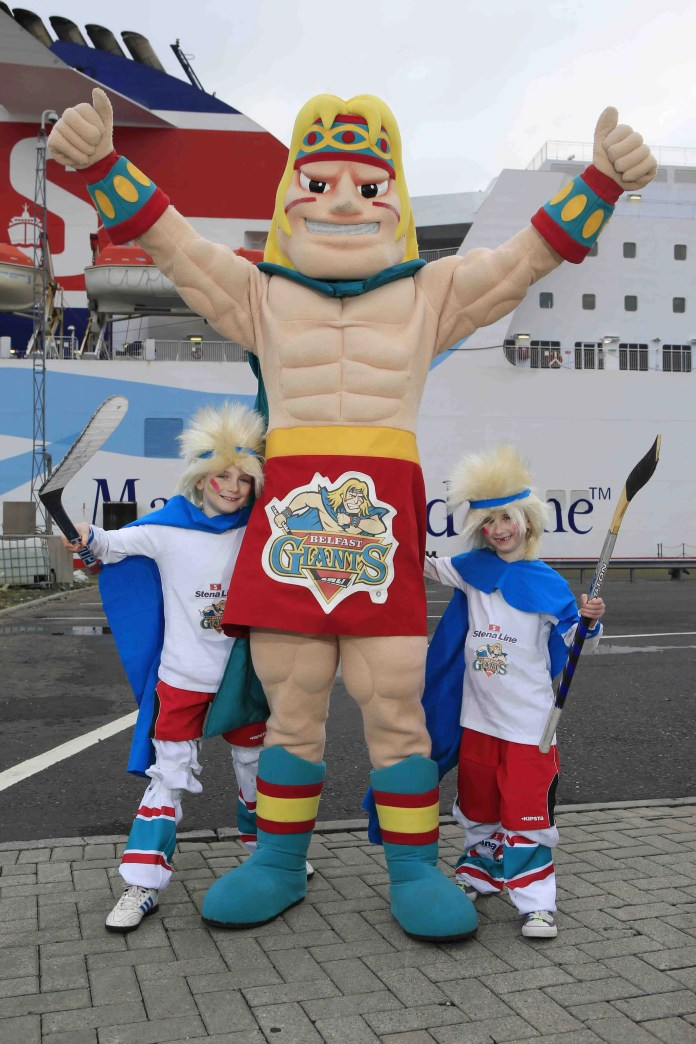 Make a Giant of Yourself...Little Finn McCool's Michael (left) and Grace Hewitt from Belfast are all set for a giant night of fun at the Odyssey Arena on Friday, March 21.