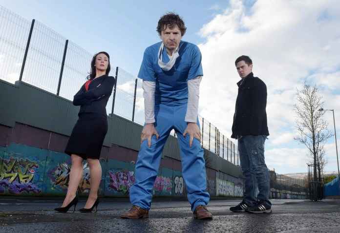 Richard Clements, Roisin Gallagher and Darren Franklin in Stitched Up 5jpg