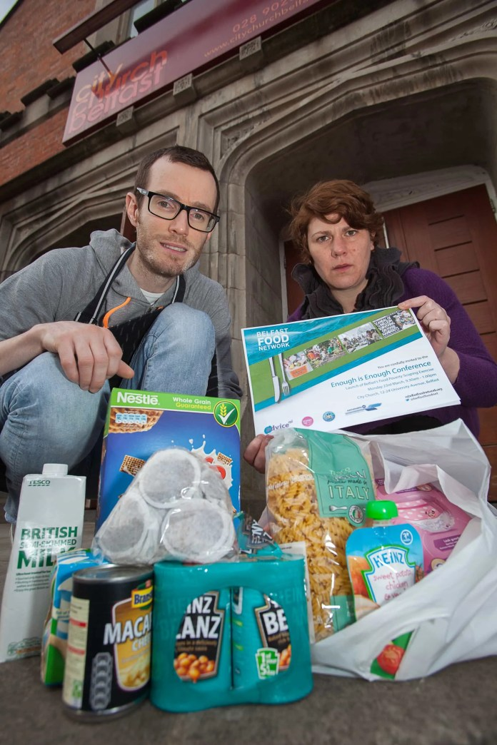 Kerry Melville, Coordinator, Belfast Food Network (right) and Bruce Gardiner-Crehan, Manager of the South Belfast Food Bank and Pastoral Assistant at City Church