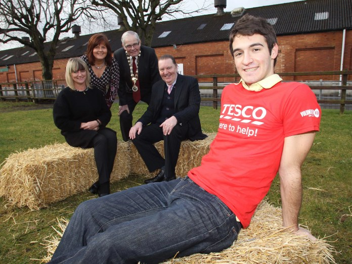 """""""Billy Robson and Jenny McNeill, RUAS are pictured with Francisco Larumbe, Volunteer Now and Cliff Kells and Caoimhe Mannion, Tesco, announcing Tesco's  sponsorship of 'Showmakers' at Balmoral Show 2015."""""""