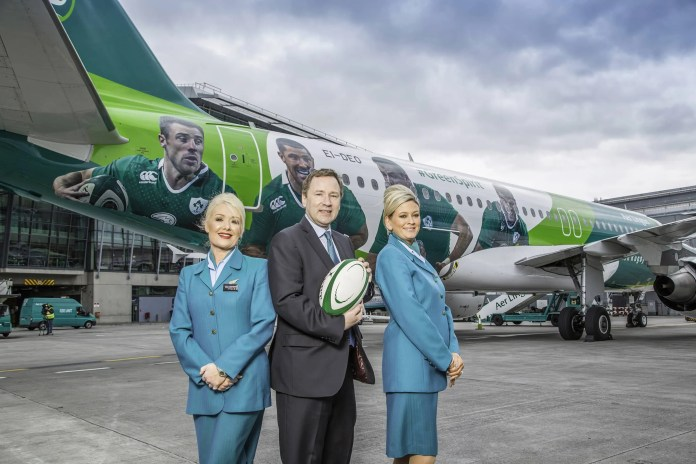 Stephen Kavanagh, Chief Executive Officer, Aer Lingus and cabin crew Tracy Johansson & Sarah Nolan, today unveiled the Green Spirit, an Airbus 320, painted in IRFU livery. The livery is part of Aer Lingus' new three year partnership deal with the IRFU. The deal will see Aer Lingus flying players, management and support staff around Europe as they compete in the RBS 6 Nations Championships and in other high profile international tournaments.  Green Spirit will go into service tomorrow, Monday 11th May, operating across Aer Lingus' short haul network to the U.K and Continental Europe. The aircraft has been given its own hash-tag #GreenSpirit.
