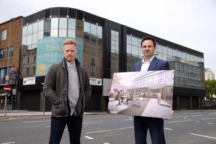 Conall Wolsey, managing director and James Sinton, finance director, Beannchor. Belfast's newest hotel will open in early 2016, situated in Lagan House, formerly occupied by the Department of Justice, which wraps round Victoria Street and Ann Street in the heart of the city centre.