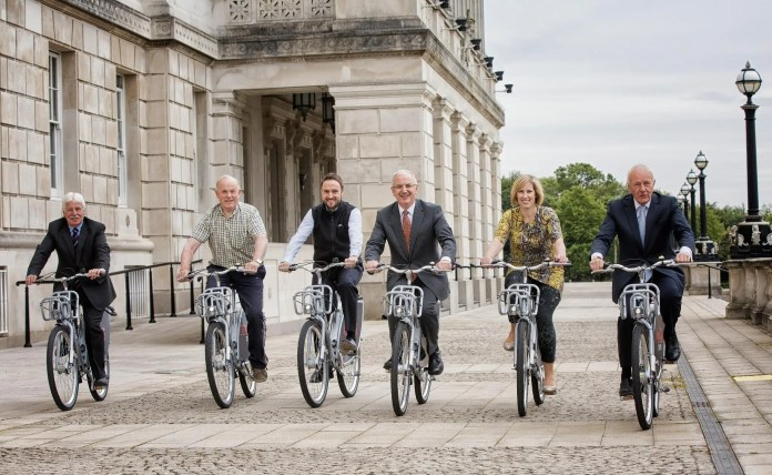 Bike Week 1: Transport Minister Danny Kennedy has invited MLAs to try out the recently introduced Belfast Bikes at Parliament Buildings, Belfast on Monday 15 June, as he launched the start of over a week of cycling activities across Northern Ireland. The Belfast Bikes cycle ride marked the start of Bike Week, which runs until the 21 June 2015. The activities are part of National Bike Week which takes place across the UK and Republic of Ireland. Local councils, employers, schools and cycling organisations have organised a wide variety of cycling events for public participation. Details of the events can be found at: http://www.nidirect.gov.uk/bike-week-13-to-21-june or facebook.com/Travelwiseni