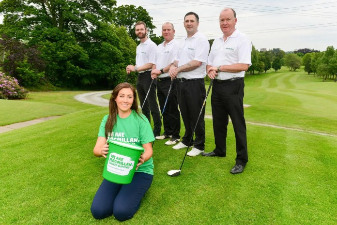 Canthese four boys play 72 holes in one day? Andrew McMichael, Mark Neeson, Howard Forsythe, Graham Steel from Brakes Foodservice tee up ahead of their Longest Day Golf Challenge which will see the quartet take advantage of one of the longest days of the year (Monday 22nd June) to play a 16 hour game of golf in aid of Macmillan Cancer Support. The group will be cheered on by Courtney Radcliffe, Brakes Marketing Manager who is encouraging people to donate viajustgiving.com/brakeslongestday2015