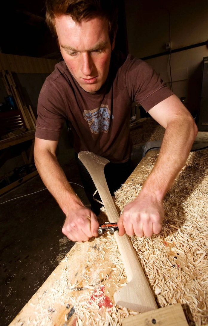 Michael Scullion manufactures Hurling Sticks and Sliotars at his factory in Loughgiel.