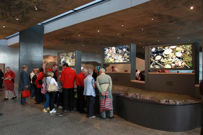 Visitors enjoy the interactive visitor centre at Giants Causeway Credit Peter Muhly[1]