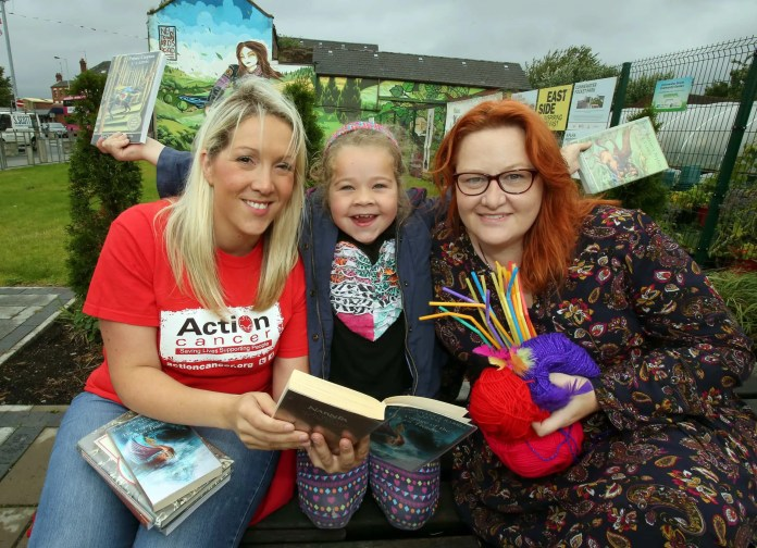 Getting ready for festival fun at Connswater Pocket Park were, from left, Leigh Chamberlain from Action Cancer, the official festival charity, Evvie Bishop(8) from East Belfast and Kirsty McGuinness,Redhead Thread.