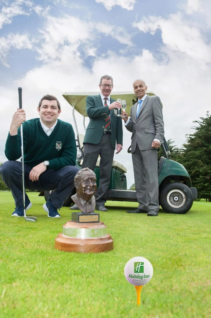 Pictured ahead of the Holiday Inn Fred Daly Memorial Pro-am tournament is Club Pro, Lee McKenna, alongside Gerry Davey, Captain, Balmoral Golf Club and Rajesh Rana, director, Andras Hotel Group.