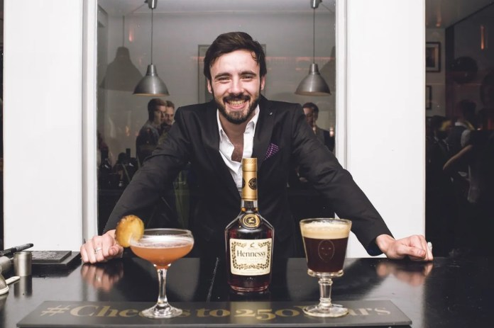 At the Hennessy Connoisseurs Challenge in Belfast on Tuesday 18th August, Nathaniel McAuley from Muriel's Cafe Bar, Belfast impressed the judges with his 'energy, theatre and captivating personality' to win the prestigious title of Hennessy Connoisseur, alongside Frankie Cosgrove from sixty6 and Roisin McErlean from The Albany, Belfast. Nathaniel's classic serve 'The Café Royal – The Illumination' featured an intoxicating mix of Hennessy Cognac VS, Olmeca Dark Chocolate Tequila, Demerara Sugar and Fresh Espresso, whilst his creative cocktail 'The Rimbaud' combined Hennessy Cognac, DeKauper Amaretto, Cinnamon Syrup and Poached Pear Puree. Judges commented on the 'creativity and exceptional balance of both drinks.' Both drinks were inspired by the literary works of one of France's most famous and respected poets, Arthur Rimbaud, author of Les Illuminations, which was brought to life with a stirring rendition of his poem, The Cupboard at the beginning of his performance. The Hennessy Connoisseurs Challenge was created by drinks company, Dillon Bass - owners of the Hennessy brand in Northern Ireland - to celebrate the 250th anniversary of the cognac brand. All three Hennessy Connoisseurs have won an impressive prize package, courtesy of Dillon Bass, which includes a VIP trip to Cognac to visit Maison Hennessy and Chateau Bagnolet, where they will receive one-on-one training, including a tasting with Hennessy's master blender. The Connoisseurs will also receive a bespoke training session with an Ambassadeur de la Maison Hennessy; tickets to a special Hennessy 250 dinner in Belfast and the opportunity to have their signature drinks showcased by the brand. Picture by Elaine Hill.
