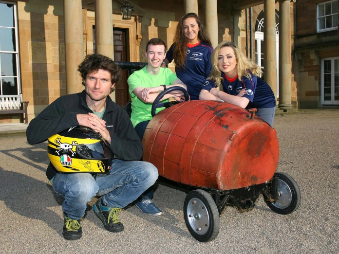 'TrustFord, Guy Martin and Clubs for Young People to host Soap Box Derby for children and youth groups across Northern Ireland at the Hillsborough International Oyster Festival pictured at the launch Guy Martin and CFYP Catriona Curran, Anthony O'Hara and Katy Darragh. Those looking to try their hand in the fast lane can now register their interest right up to 14th August at www.trustford.co.uk/soapboxderby. Open to all community groups, youth clubs and children accompanied by an adult, teams are required to design and build their own soapbox in order to compete in the nail-biting Soap Box Derby at the Hillsborough International Oyster Festival in September, where legendary racing and TV star, Guy Martin, will be a judge.