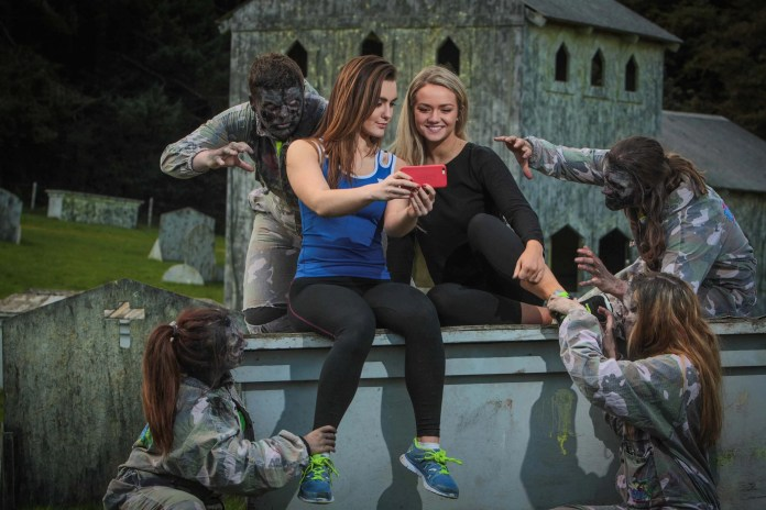 Page McLaughlin and Chloe McLaurin pucker up for a'zelfie'as The Jungle Outdoor Adventure Centre opens registration for the annual 5k Zombie Run in aid of Autism NI. More information about the run and how to register can be found onthejungleni.com