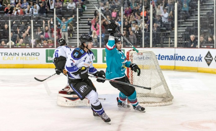James Desmarais celebrates his goal, making it 1-1 on the night at The SSE Arena, Belfast.