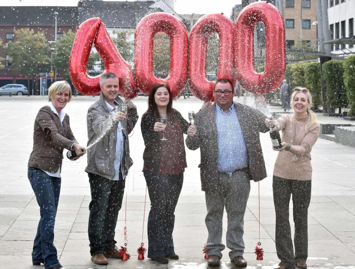 Northern Ireland Lottery winners (l to r) Sharin McCourt from Derry who won £250,000 on a Blue & Green scratchcard; Martin McKenna from County Down who won £1 million on a Millionaire 777 Red scratchcard last month; Claire Marks from Ballyclare who won £250,000 on a Celebration Scratchcard; Belfast man Peter Lavery who won a staggering £10.2m back in 1996 and Derry-based inventor Anne Canavan who recently struck lucky in the EuroMillions Mega Friday Draw in which she won £1 million and an exclusive private island getaway in the Cambodian Island. Records show that 4,000 winners have now joined the lucky lottery millionaires club, sharing a £55 billion prize pot – with a current average of six new millionaires created every week. In Northern Ireland, a total of 88 millionaires have been created since 1994, almost half of them in the past five years. Since January 2011, no fewer than 41 millionaires have been created in Northern Ireland, which is a staggering average of one EVERY 42 DAYS*.