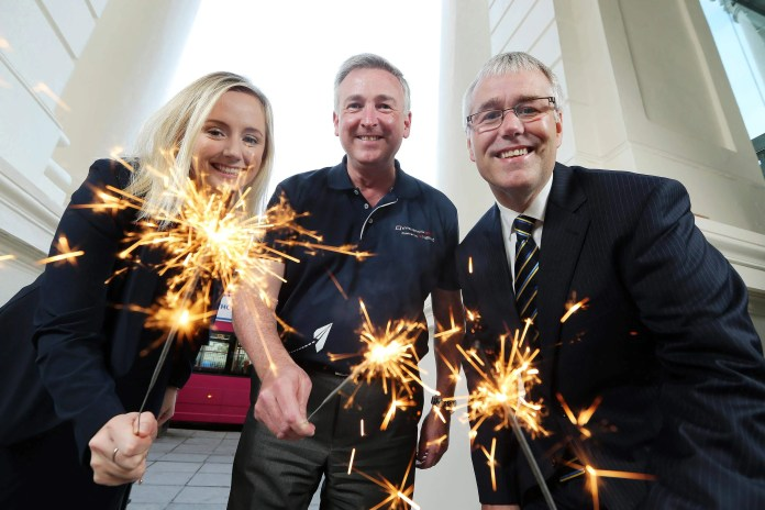 Richard Donnan, right, Ulster Bank Regional Managing Director, Corporate & Commercial, Lynsey Cunningham, Entrepreneur Development Manager, Ulster Bank, and Ken Whipp, Excellence Engineer, Entrepreneurial Spark