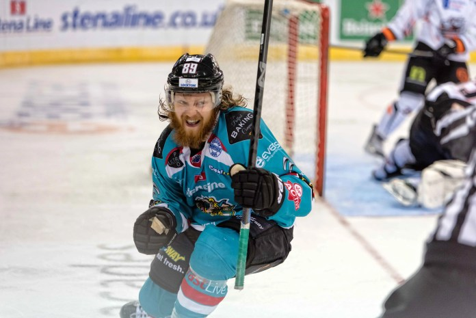 Jonathan Boxill celebrates his goal, giving the Giants a 4-1 lead vs Sheffield. (photo Andy Gibson)