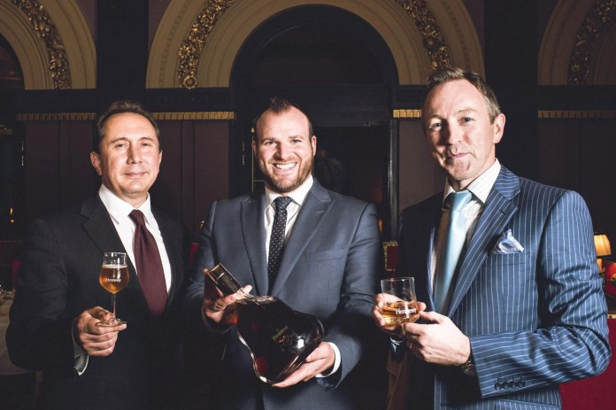 Marco Morro, Food and Beverage Manager at The Merchant Hotel, Gavin Carroll, General Manager at The Merchant Hotel and Greg Hughes, Business Unit Director at Dillon Bass celebrate the Hennessy 250 dinner at The Merchant Hotel. The world's most famous cognac brand joined forces with Belfast's iconic Merchant Hotel to host a very special event to celebrate 250 years of Hennessy.