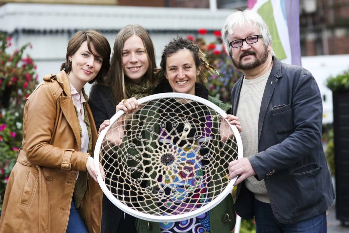(left to right):Louise Murphy (Folktown Market volunteer), Sophie Rasmussen (Folktown Director), textile artist Julie Ann Czyrek and Raymond O'Regan (Queen's University) at the launch of the Heritage Celebrations project at Folktown Market in Bank Square, Belfast. The project will include a series of traditional craft workshops, heritage talks and tours (run by Raymond O'Regan) and an oral history project. The Heritage Lottery Fund is supporting the celebrations which run from October 2015 until May 2016. Picture John Murphy