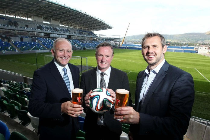 Pictured kicking off the new deal are Jeff Tosh, Sales Director, Tennent's NI; Michael O'Neill, Manager of the Northern Ireland Football Team; and Brian Beattie, Marketing Director, Tennent's NI.