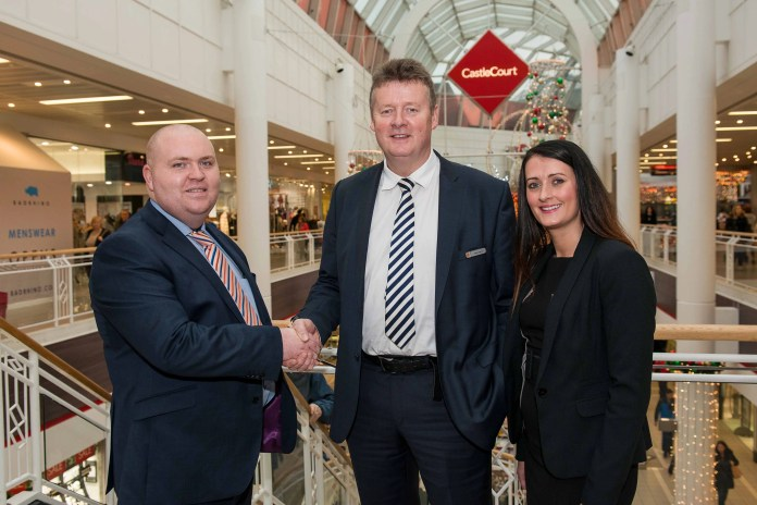 KINGS OF THE CASTLE:  Northern Ireland's biggest independent security company Mercury Security Management has been reappointed to provide a complete security solution to CastleCourt, one of the country's biggest and busiest shopping centres.  Making sure that the Centre is safe and secure are (l-r) Mercury Security Director Liam Cullen, CastleCourt Security Manager Stewart McConnell and Mercury Marketing Director Grainne Elliott.  Lisburn-based Mercury, which also has offices in Dublin, Limerick and London, was awarded the contract for a second time following a rigorous tender process in which it pitched an integrated solution combining 24-hour manned guarding with the latest CCTV and monitoring technology to protect the assets of the shopping centre and its tenants.  A core team of well-equipped and fully trained security officers, with fast access to additional support and resources if required, will service the account, along with additional skilled staff with extensive customer relations to manage the Customer Service desk.  CastleCourt opened its doors in 1990 and with an annual footfall of 14 million customers and over one million vehicles using the centre every year, the Centre's security requirement is one of the biggest in Northern Ireland's retail industry.