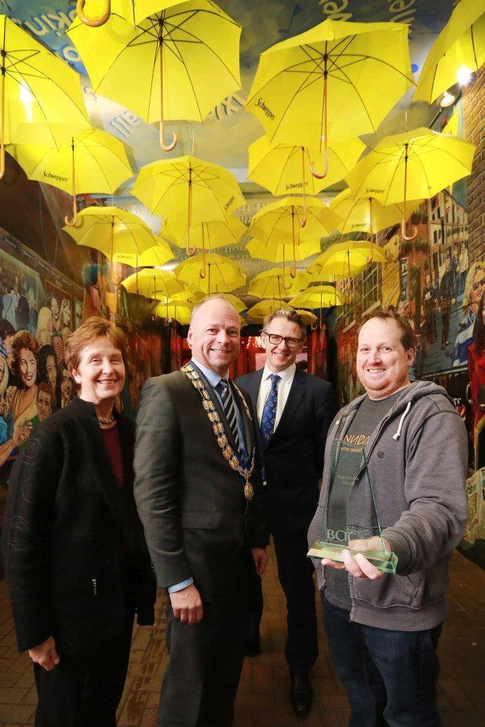 Patricia Freeman, Director, Cathedral Quarter Trust with Hugh Black, President, BCTC, Paul McErlean, Chair of the Cathedral Quarter Trust and Adam Turkington, Programme Manager for Culture Night Belfast.